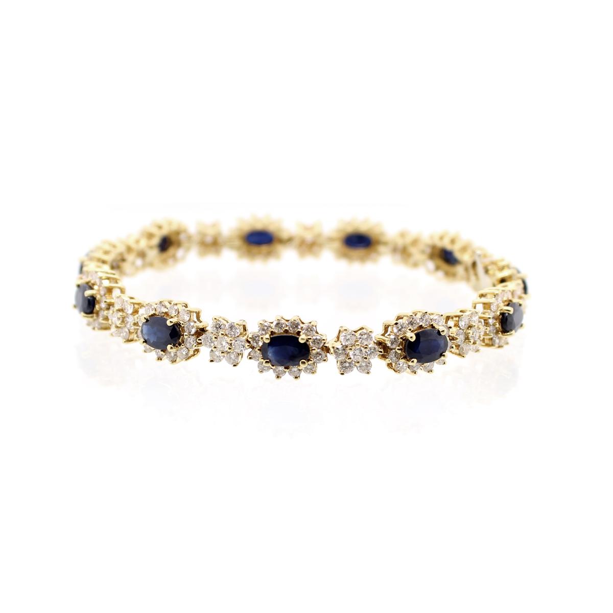 Estate 14 Karat Yellow Gold Diamond and Sapphire Link Bracelet