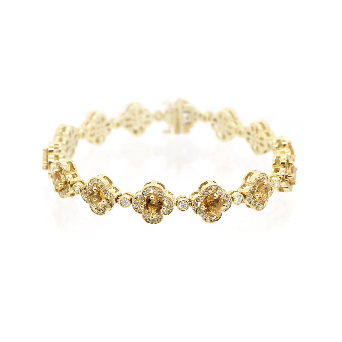 Estate Charles Krypell 18 Karat Yellow Gold Diamond and Citrine Link Bracelet
