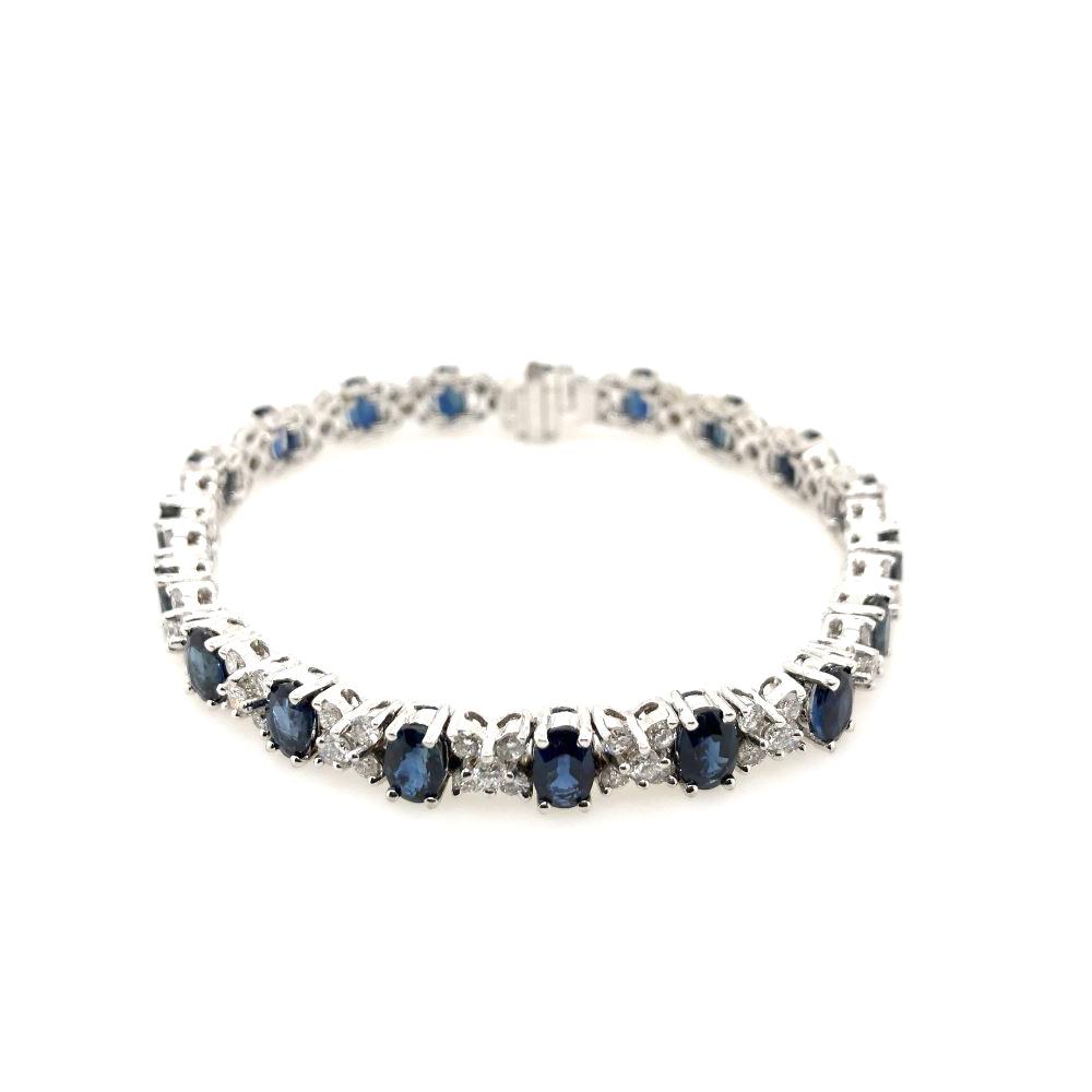 Estate 18 Karat White Gold Diamond and Blue Sapphire Bracelet
