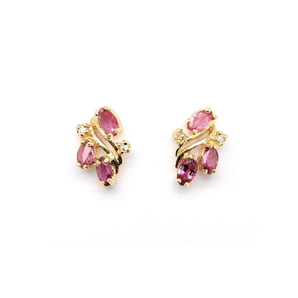 Estate 14 Karat Yellow Gold Ruby and Diamond Earrings