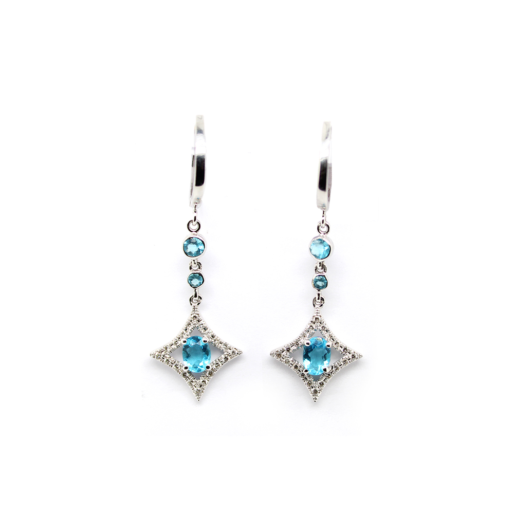 Estate 18 Karat White Gold Blue Topaz and Diamond Dangle Earrings