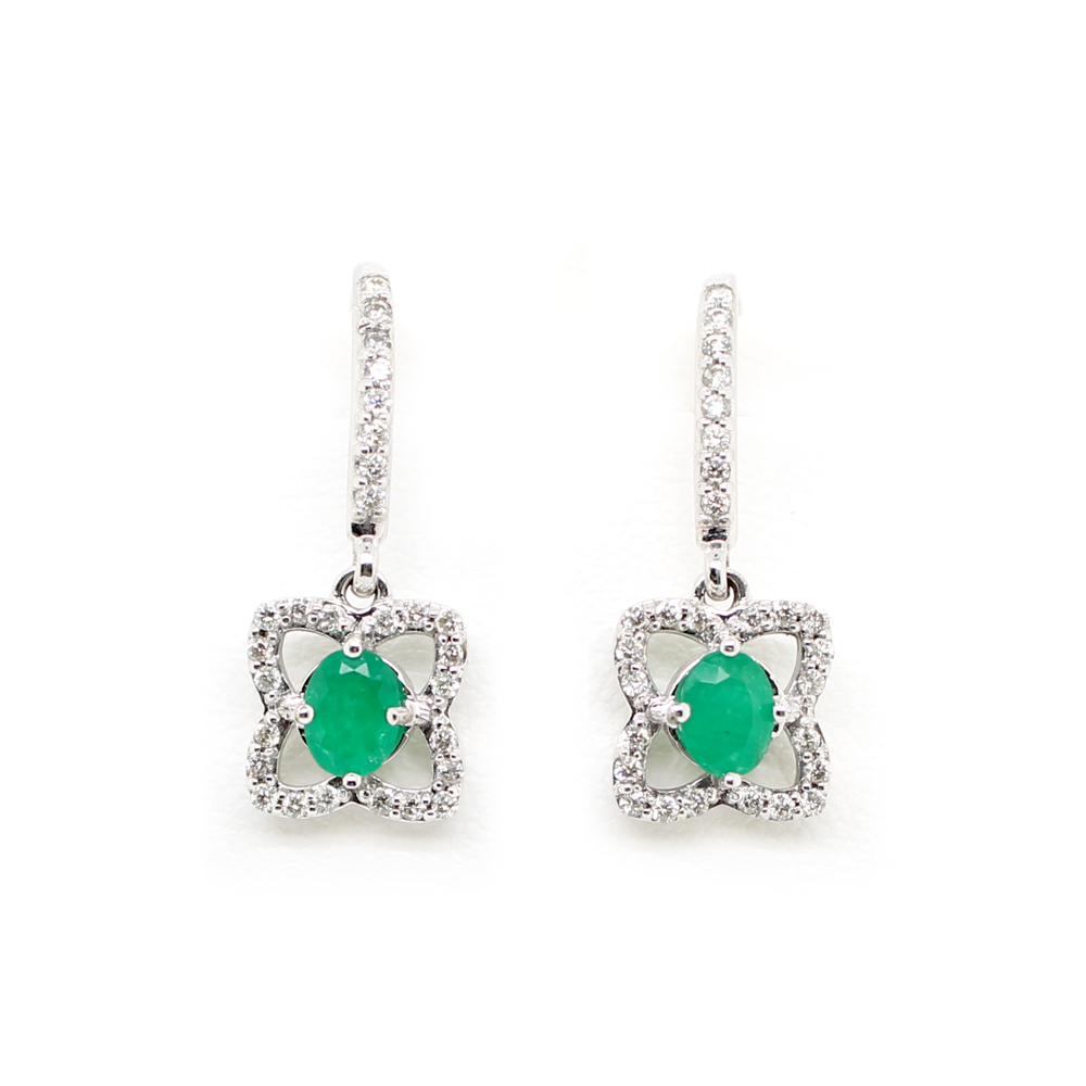 Vintage 14 Karat White Gold Emerald and Diamond Dangle Earrings