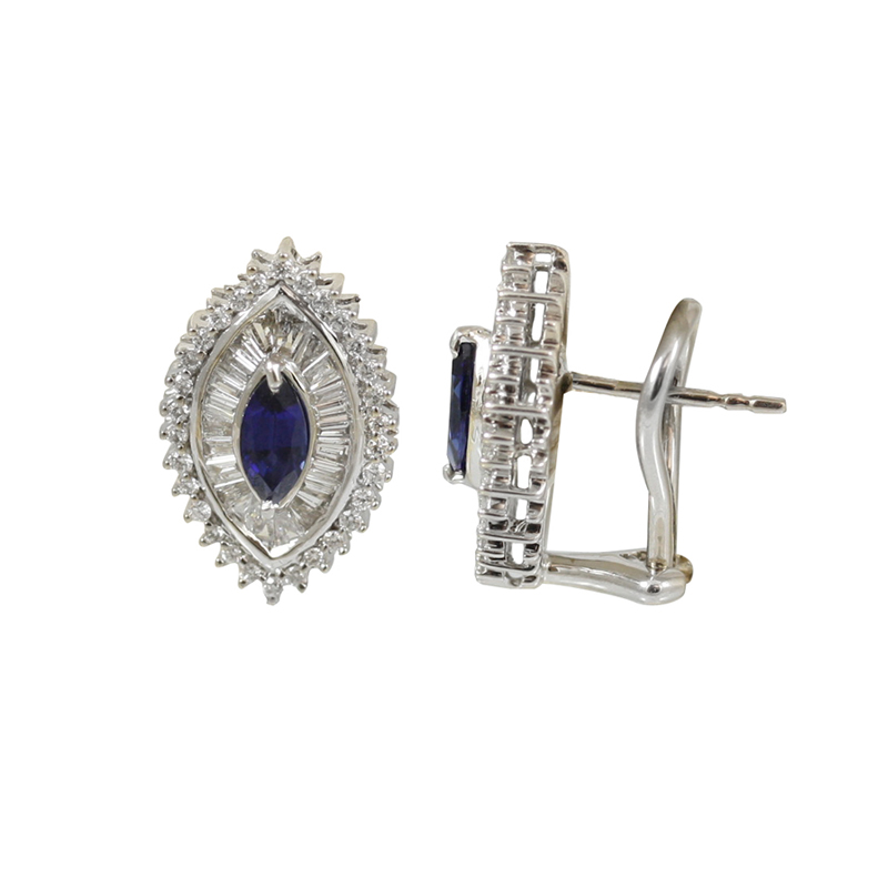 These Beautiful Diamond Sapphire And White Gold Earrings Are An Attention Getter.