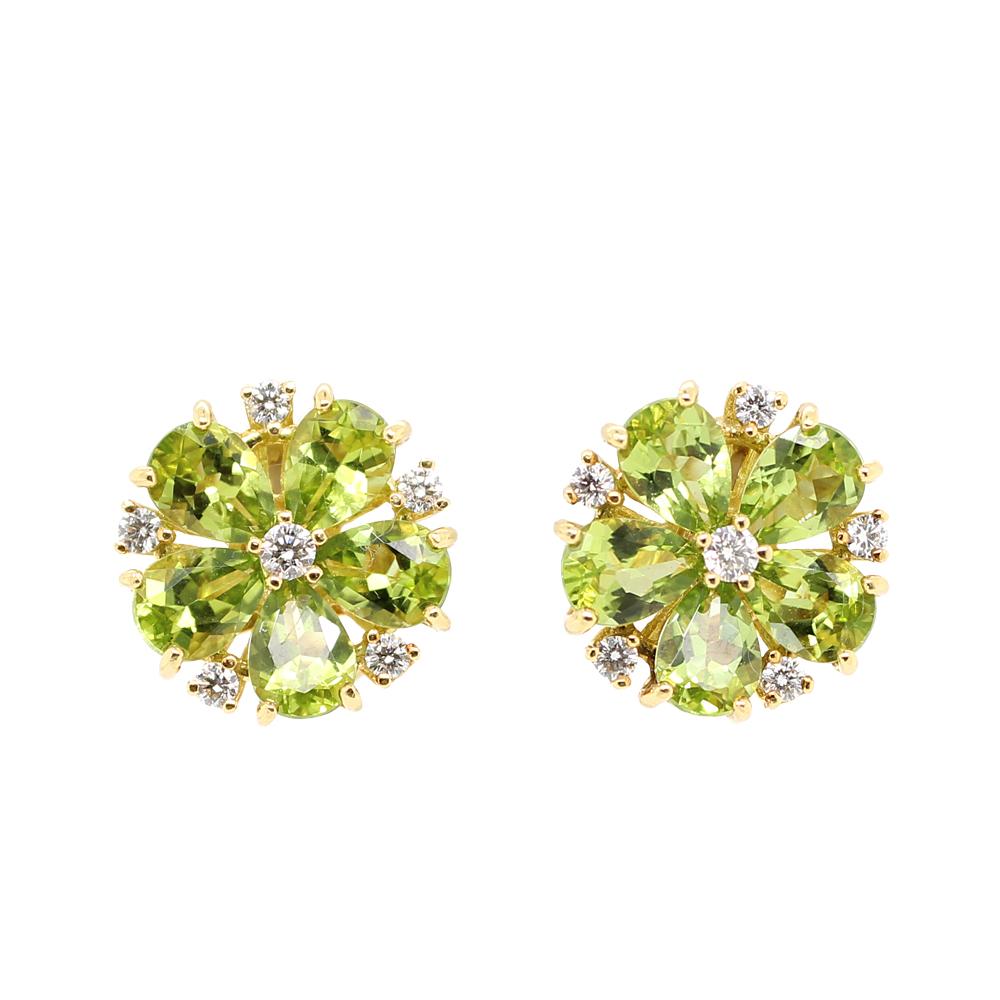 Estate 18 Karat Yellow Gold Peridot and Diamond Earrings