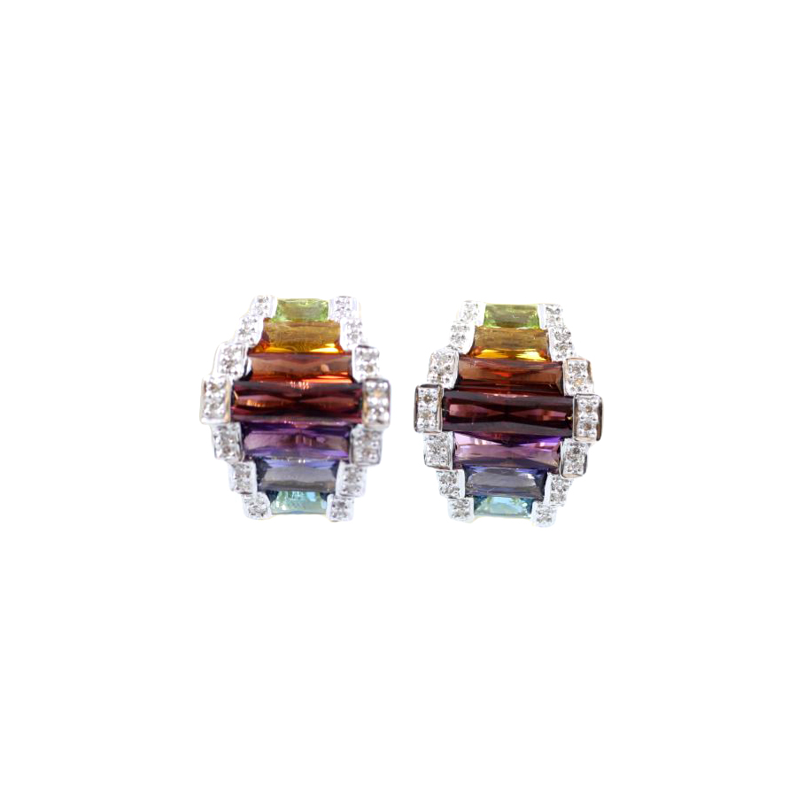 Estate 18 Karat Yellow Gold Diamond and Multi-Colored Earrings