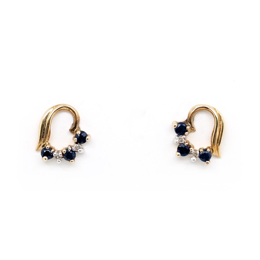 Vintage 14 Karat Yellow Gold Diamond and Sapphire Earrings