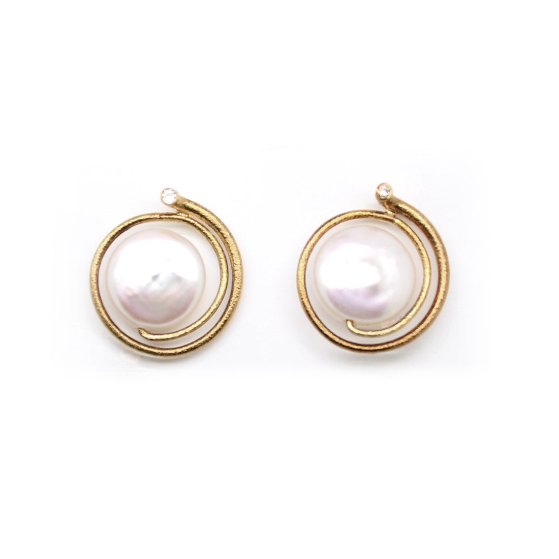 Estate 14 Karat Yellow Gold Biwa Pearl and Diamond Earrings
