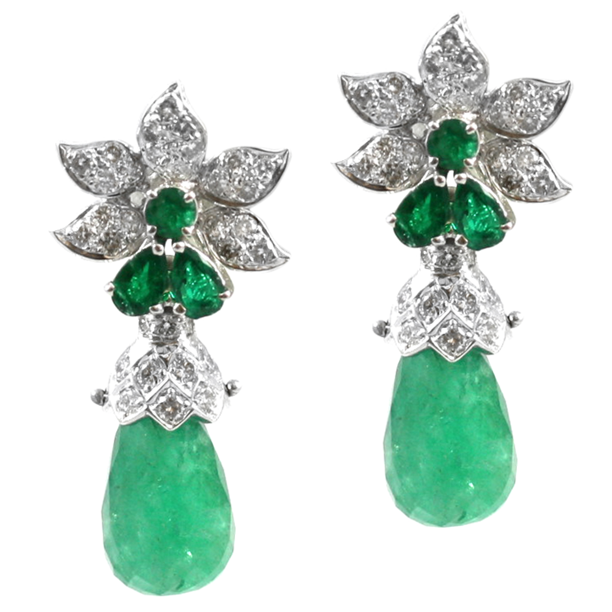 Estate 14 Karat White Gold Emerald And Diamond Flower Dangle Earrings Edce04417