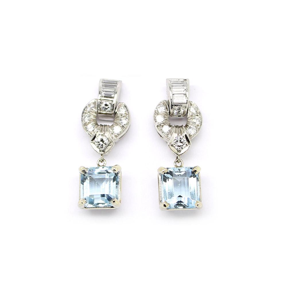 Estate 14 Karat White Gold Diamond and Aqua Earrings