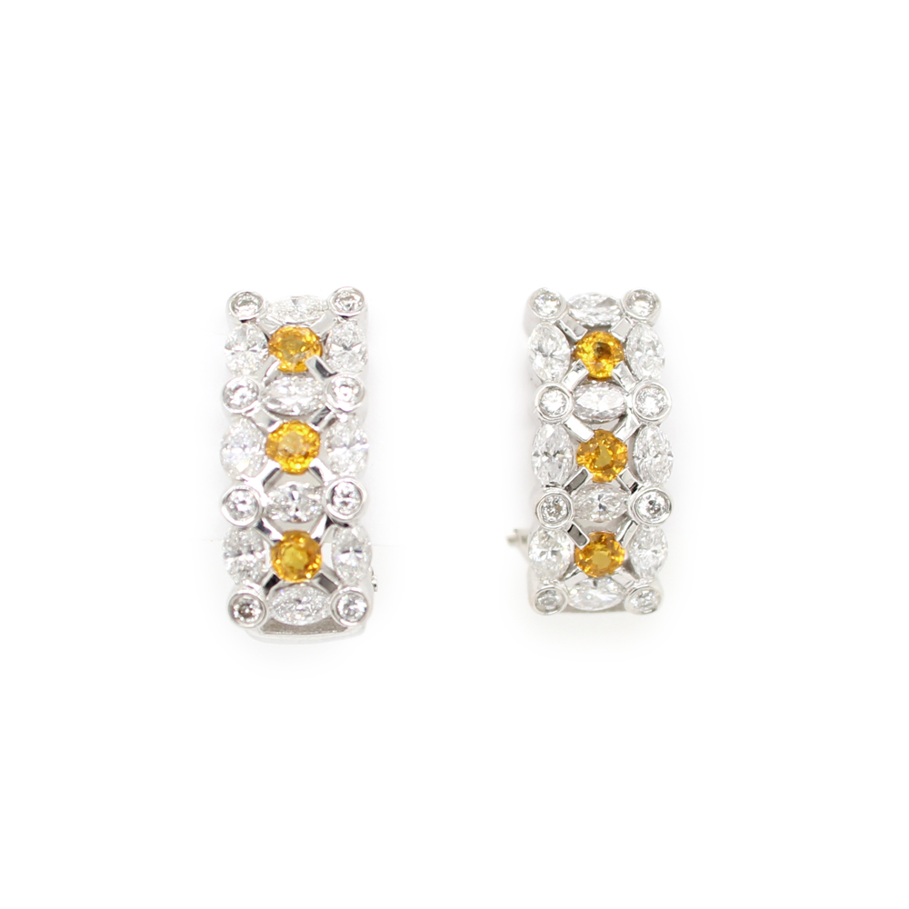 Estate 18 Karat White Gold Yellow Sapphire and Marquise Diamond Earrings
