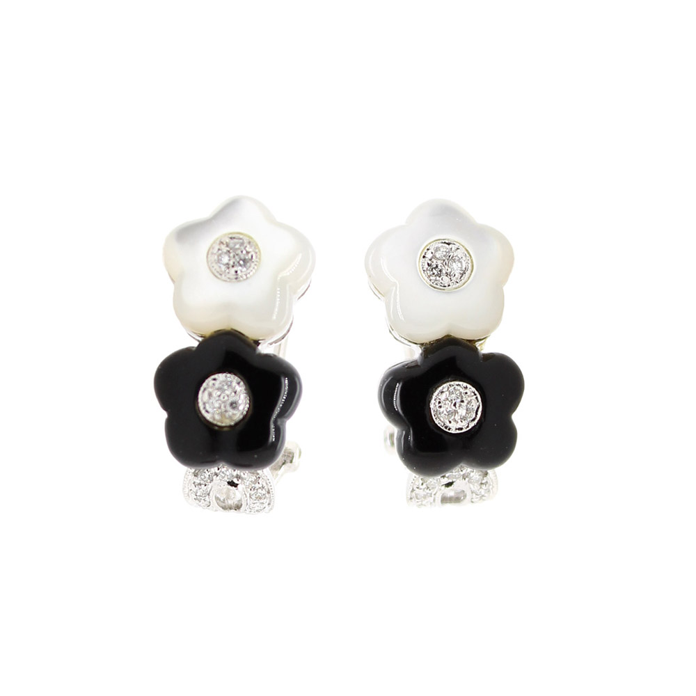 Estate 18 Karat White Gold Mother of Pearl and Black Onyx Earrings
