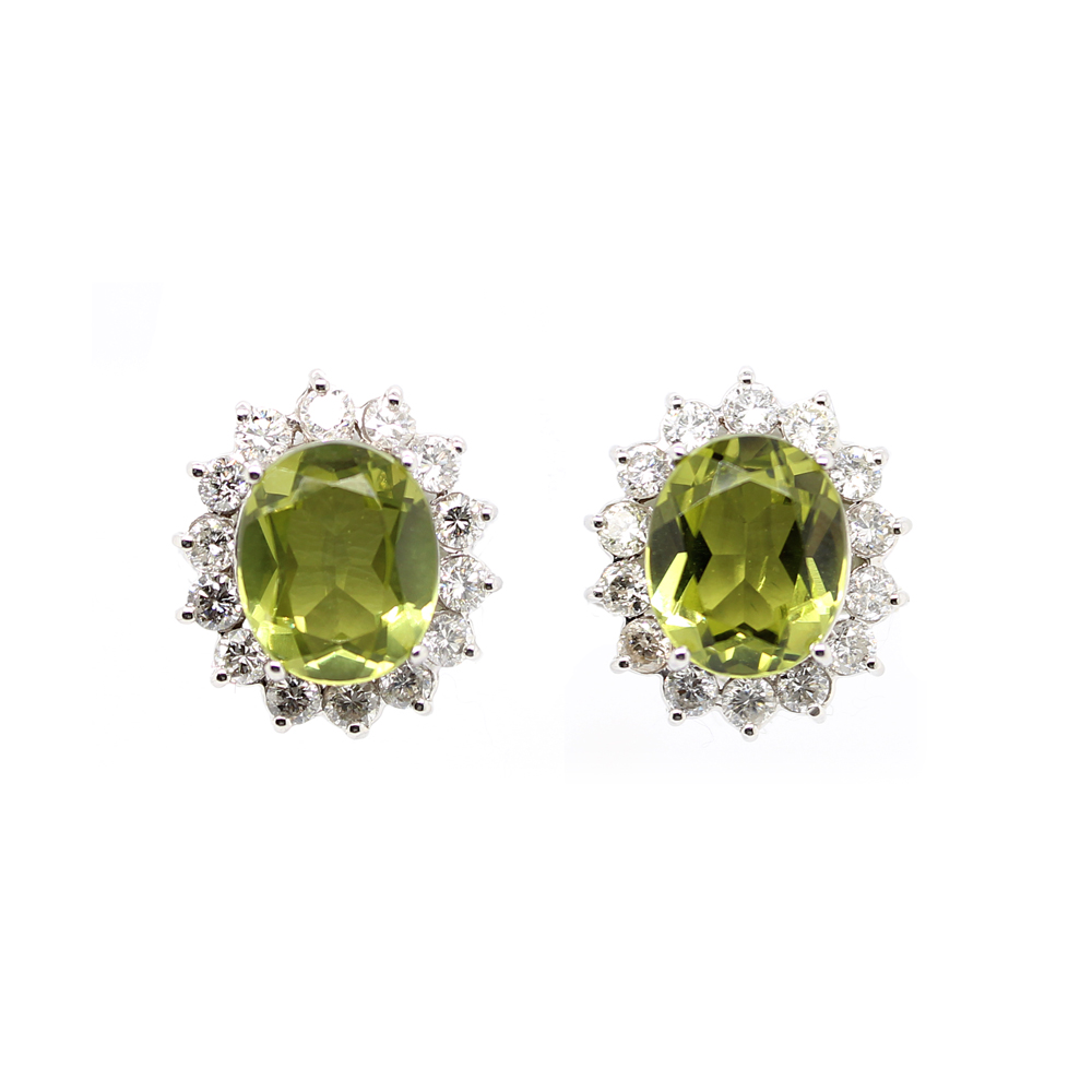 Estate 14 Karat White Gold Diamond and Oval Peridot Earrings