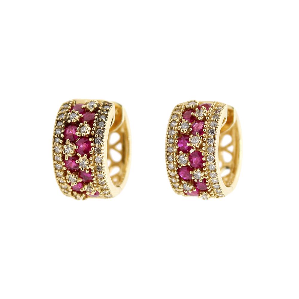 Estate 18 Karat Yellow Gold Diamond and Ruby Hoop Earrings