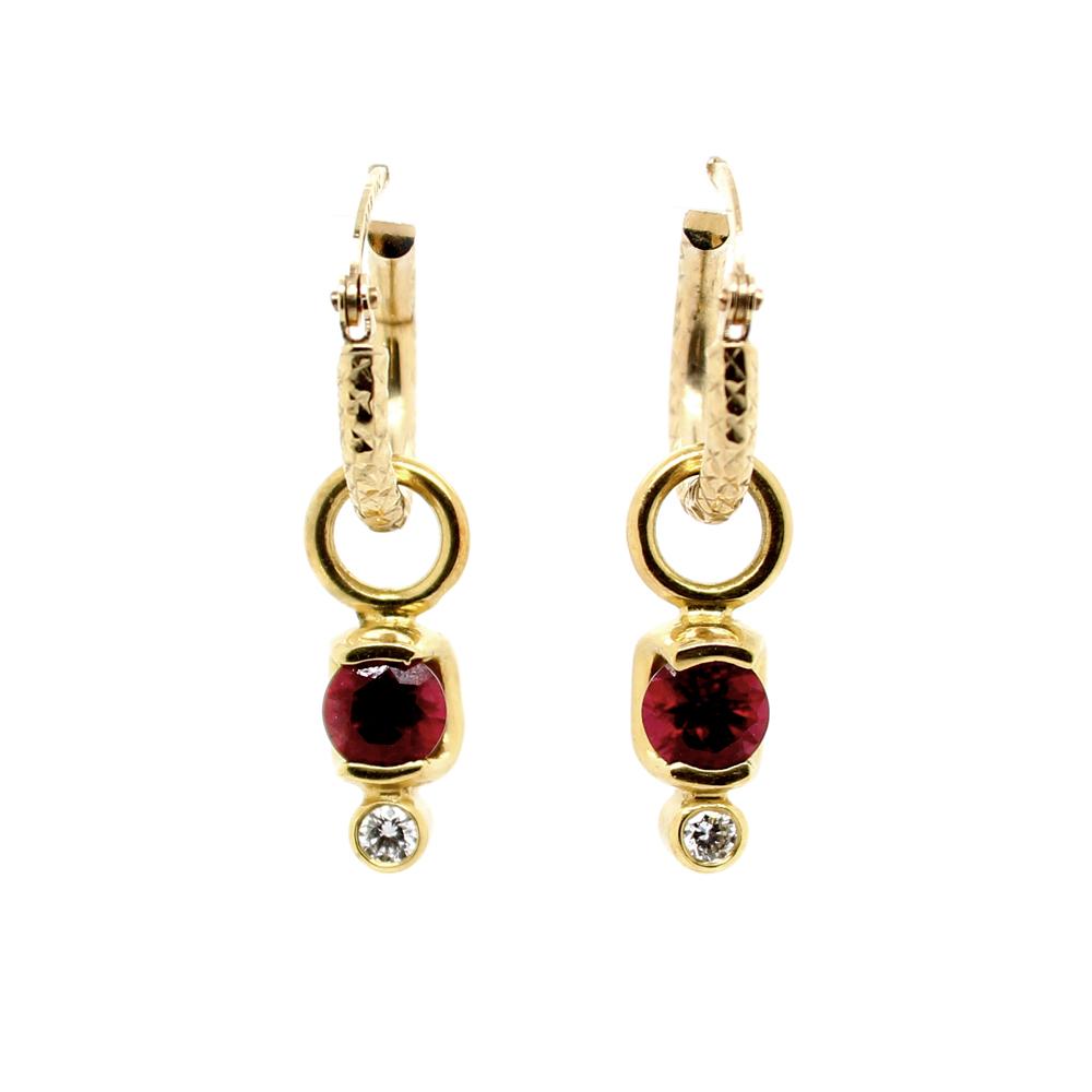 Estate 18 Karat Yellow Gold Diamond and Ruby Dangle Earrings