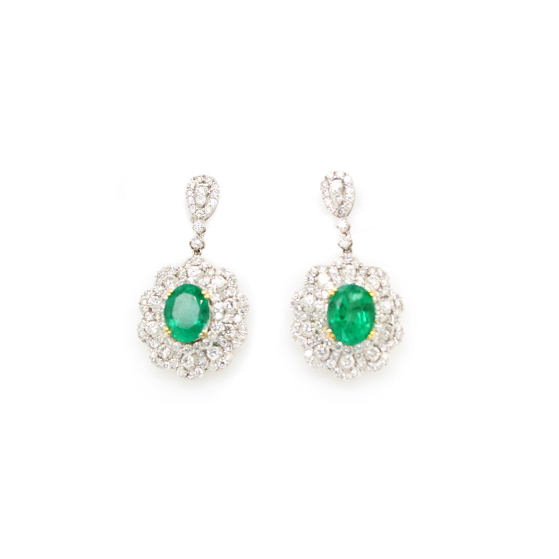 Vintage 18 Karat White Gold Emerald and Diamond Dangle Earrings