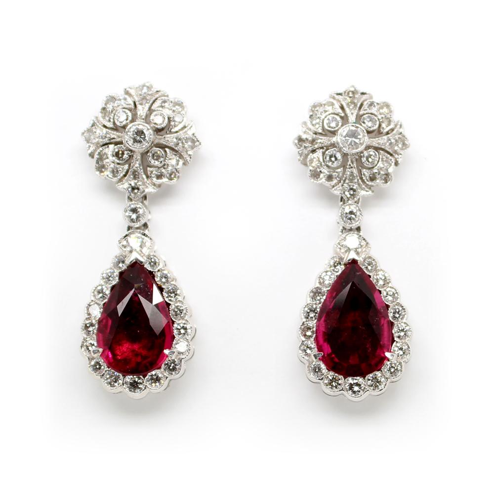 Estate 14 Karat White Gold Diamond and Pink Tourmaline Earrings
