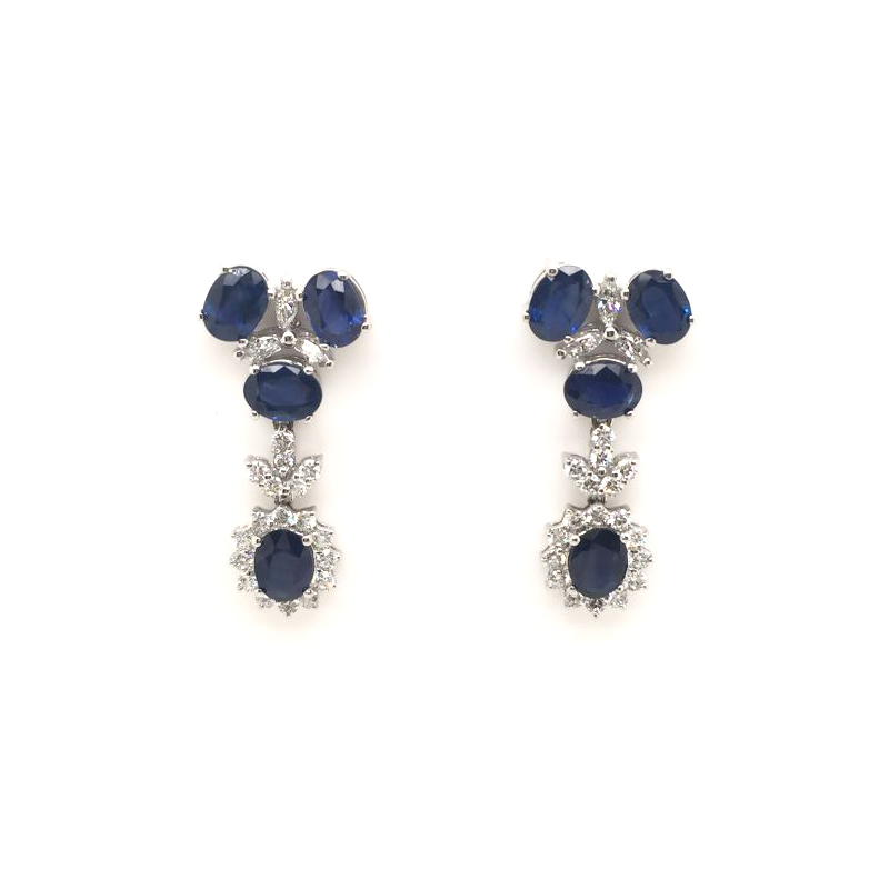 Estate 18 Karat White Gold Blue Sapphire and Diamond Dangle Earrings