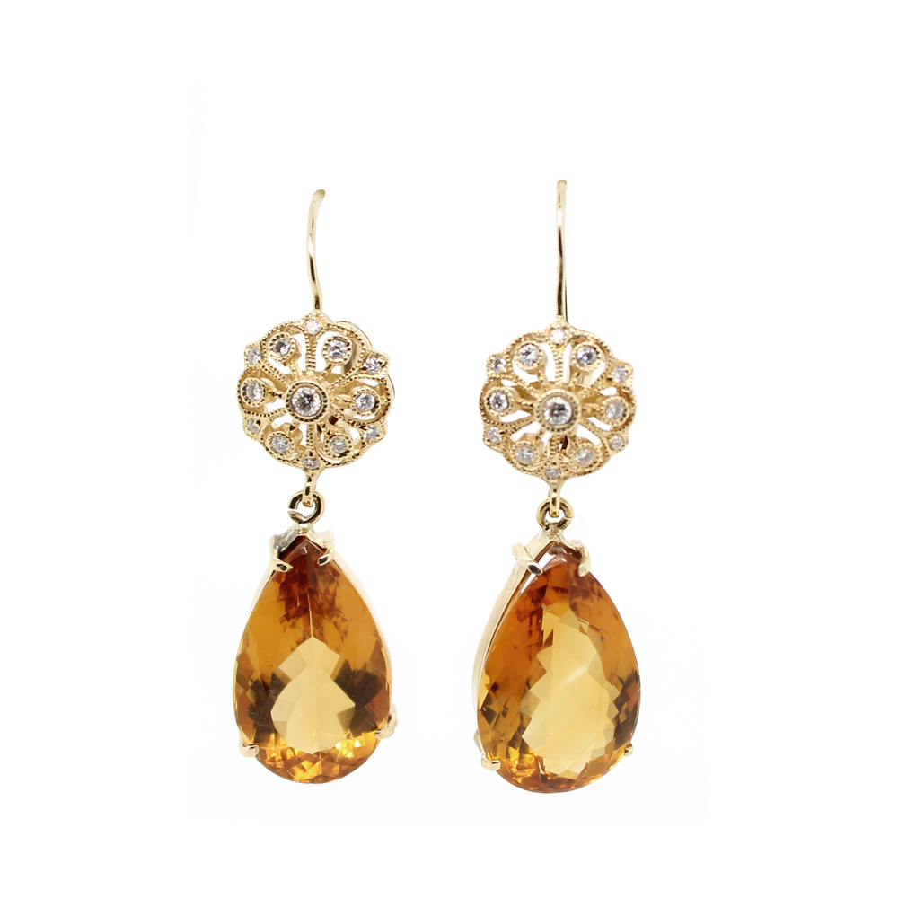 Estate 14 Karat Yellow Gold Diamond and Citrine Dangle Earrings