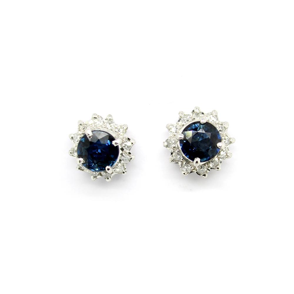 Estate 18 Karat White Gold Blue Sapphire and Diamond Earrings