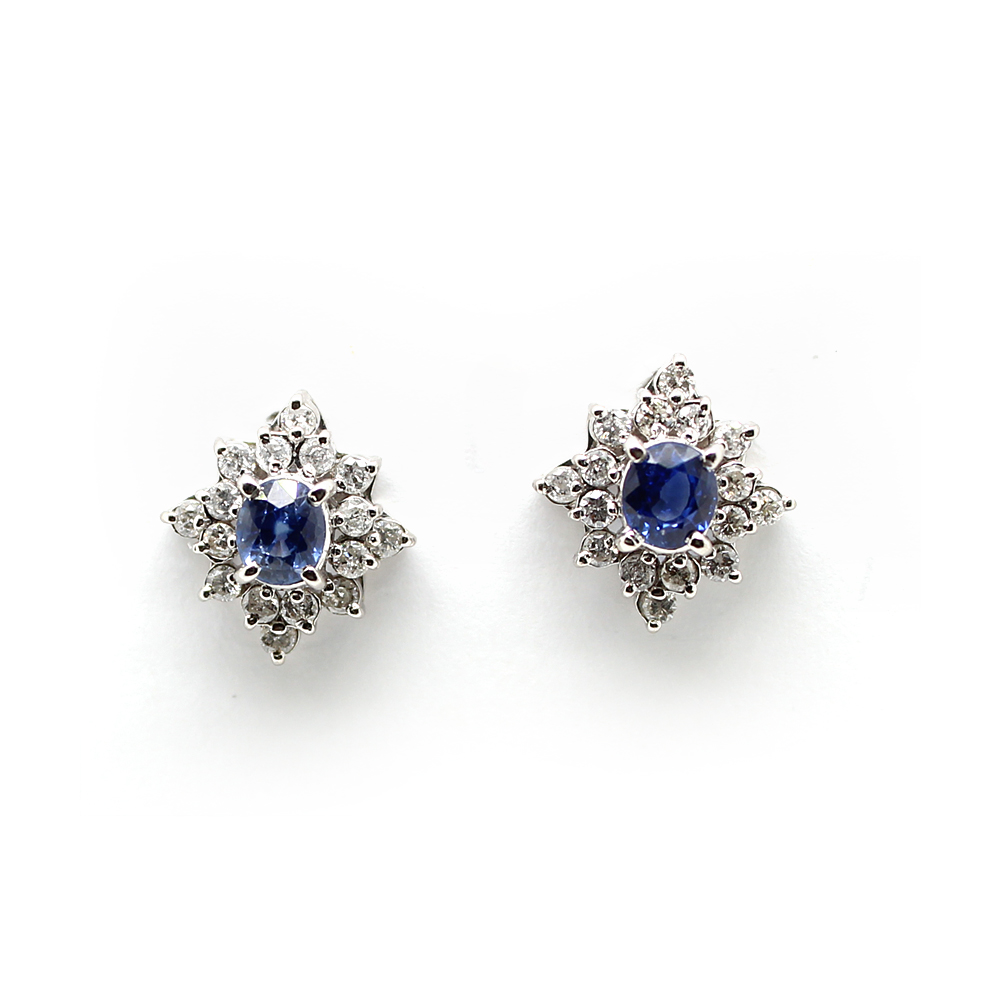 Vintage Platinum Sapphire and Diamond Earrings