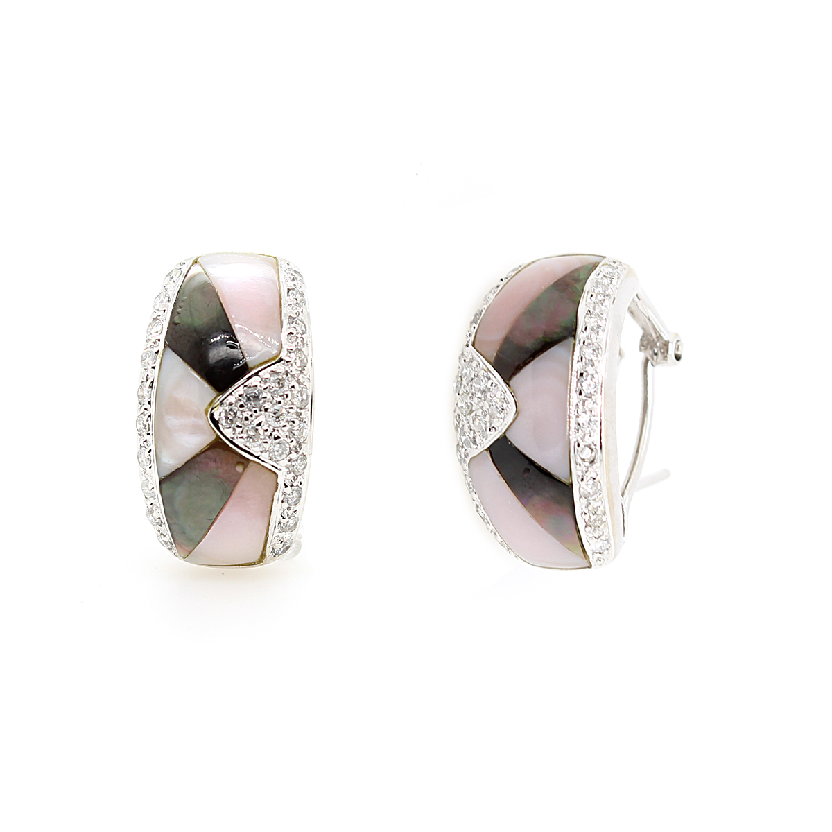 Vintage 14 Karat White Gold Pink and Black Mother of Pearl Earrings
