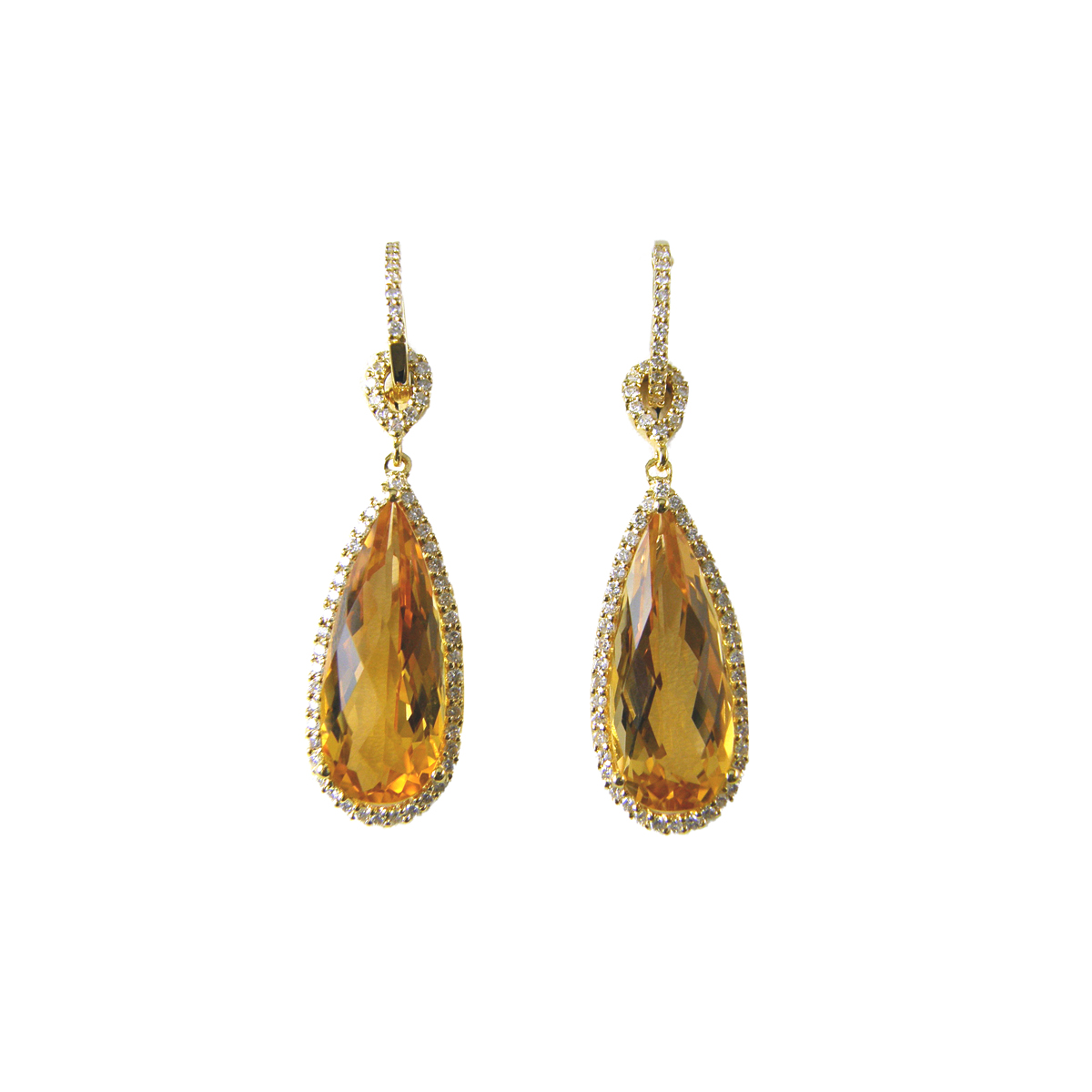 Vintage 18 Karat Yellow Gold Pear Shaped Citrine and Diamond Earrings
