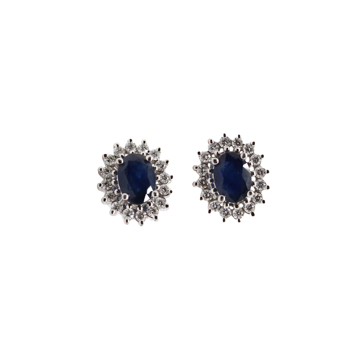Vintage 14 Karat White Gold Oval Blue Sapphire and Diamond Earrings