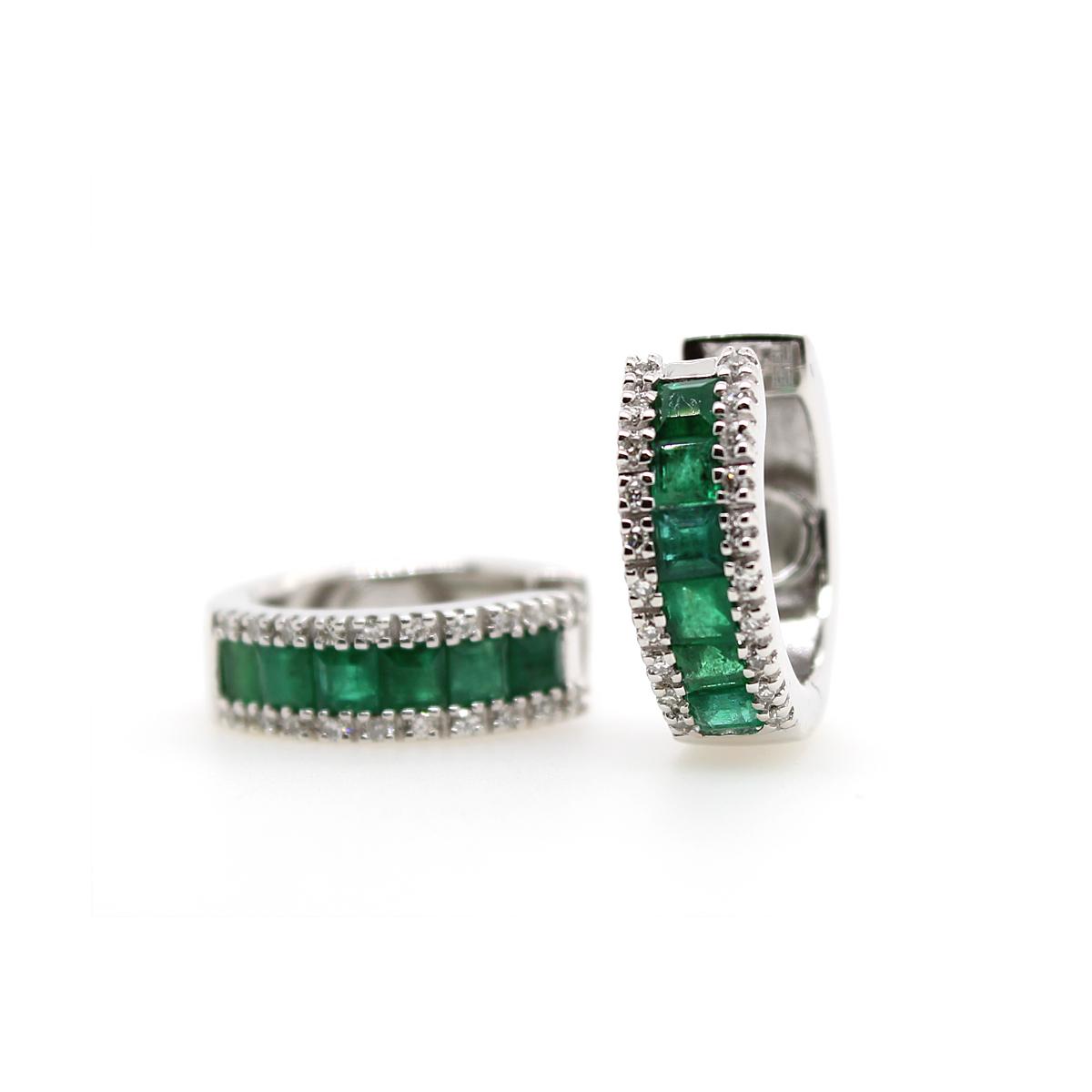 Vintage 14 Karat White Gold Emerald and Diamond Hinged Huggie Earrings