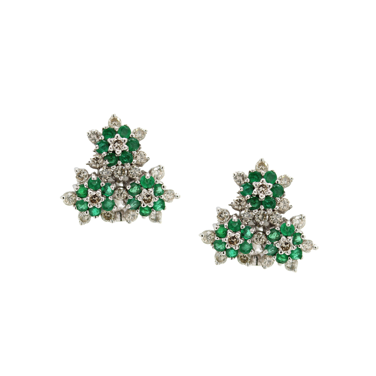 Vintage 18 Karat White Gold Emerald and Diamond Earrings