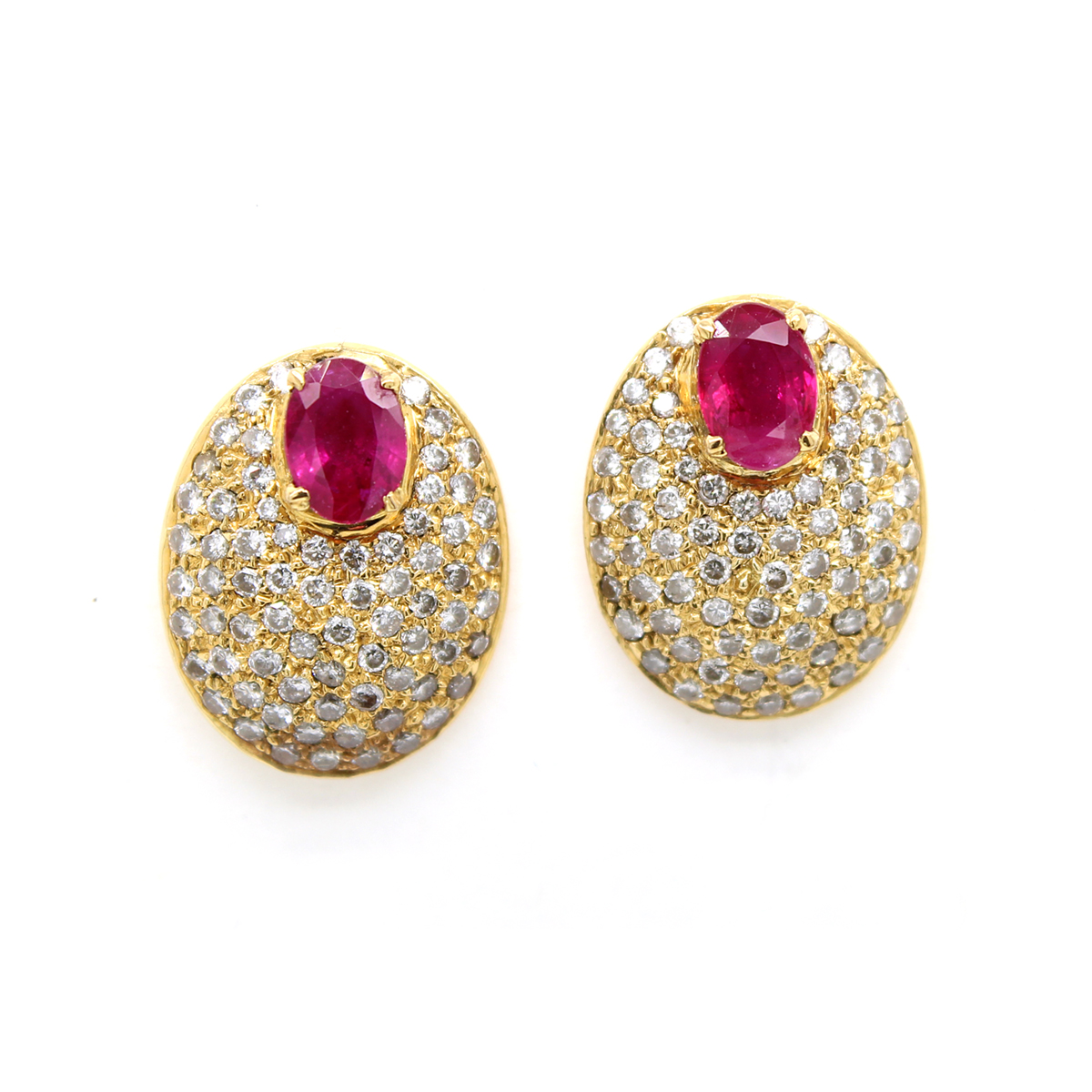 Vintage 14 Karat Yellow Gold Oval Ruby and Diamond Pave Earrings