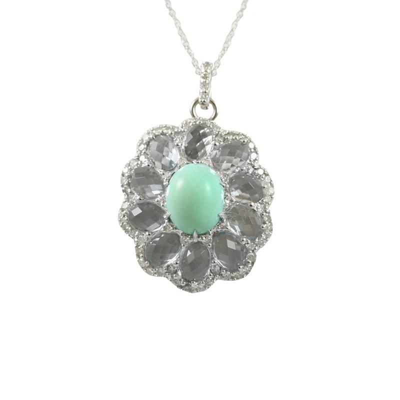 So Joyous Yet So Elegant! This 14 Karat White Gold Turquoise Diamond And Aquamarine Pendant Swings Graciously On An Oval Link Chain.