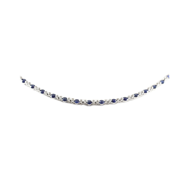 Estate 14 Karat white gold, diamond, and sapphire necklace measuring 15