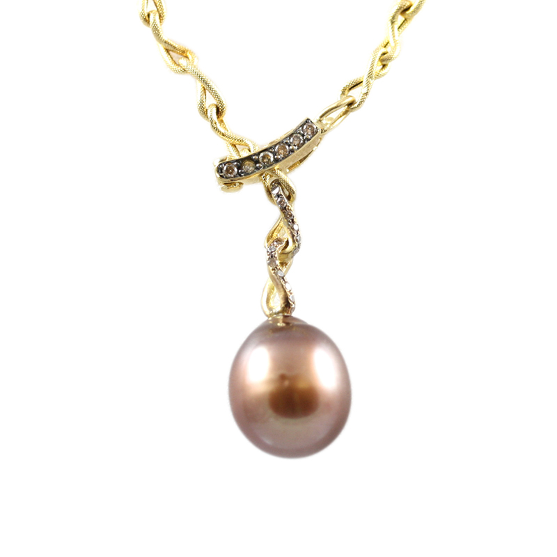 Vintage Yvel 14 karat yellow gold, south sea pearl and diamond adjustable Lariat style necklace.