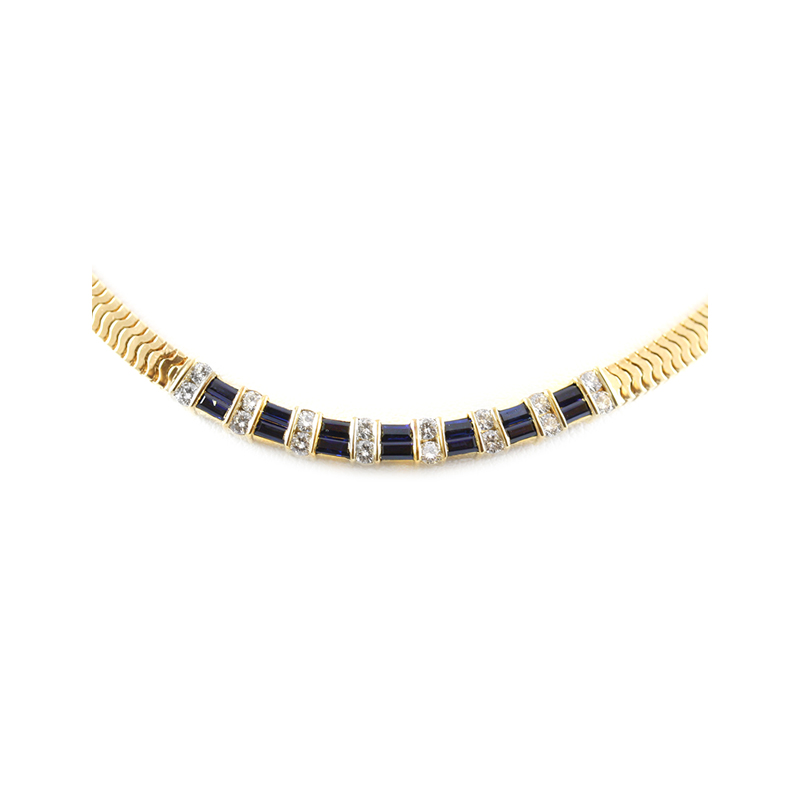 "Vintage 18 Karat yellow gold, sapphire and diamond box foxtail necklace measuring 16"" long."