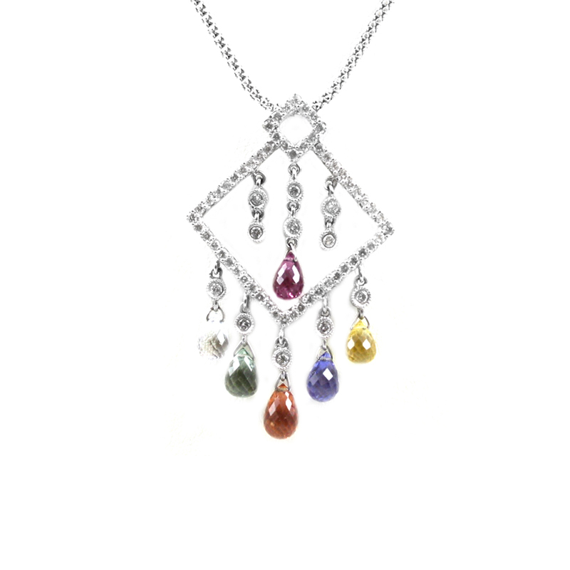 Vintage 18 Karat white gold, diamond and multi colored sapphire pendant on a 14 karat white gold 18