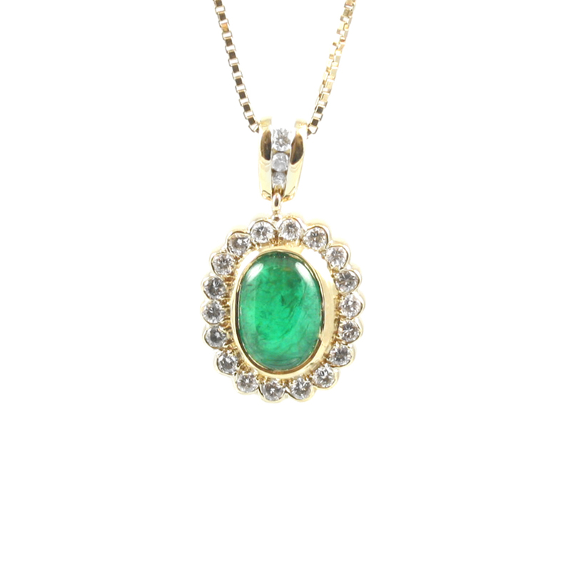 Vintage 18 Karat yellow gold emerald and diamond pendant.