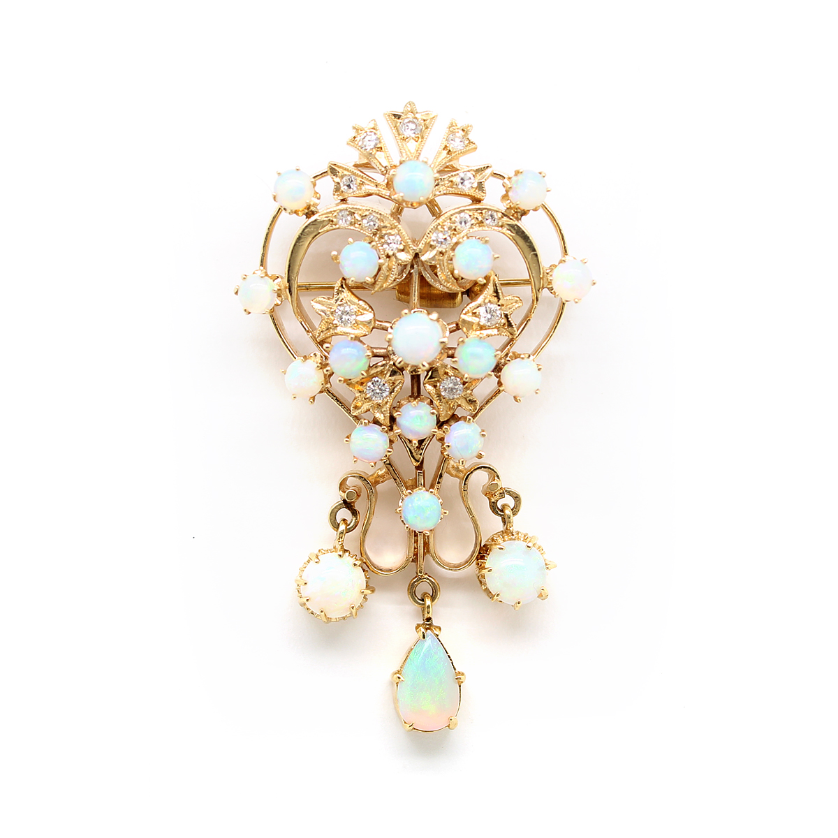 Vintage 14 Karat Yellow Gold Opal and Diamond Pin and Pendant