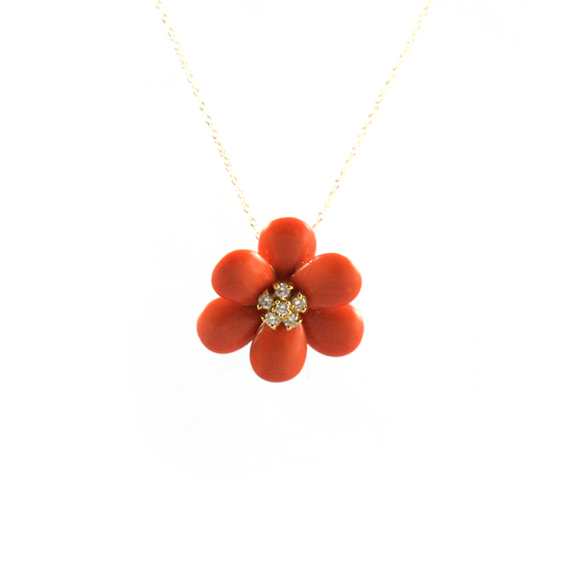 "Vintage 18 Karat yellow gold, diamond and coral flower pendant on a 18 Karat yellow gold 18"" chain."