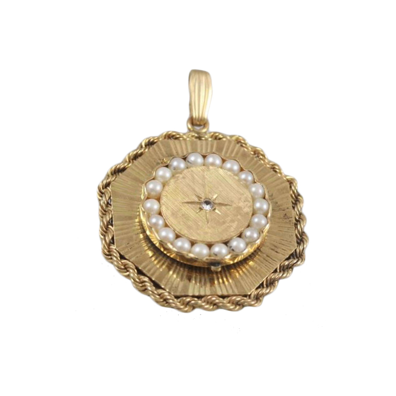 Vintage 14 Karat yellow gold, diamond and pearl pendant.
