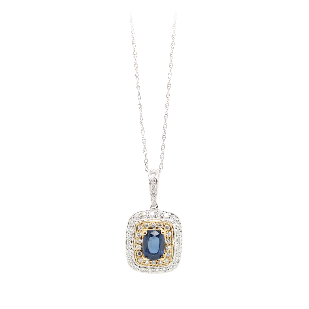Vintage 14 Karat Yellow and White Gold Diamond and Sapphire Pendant Necklace