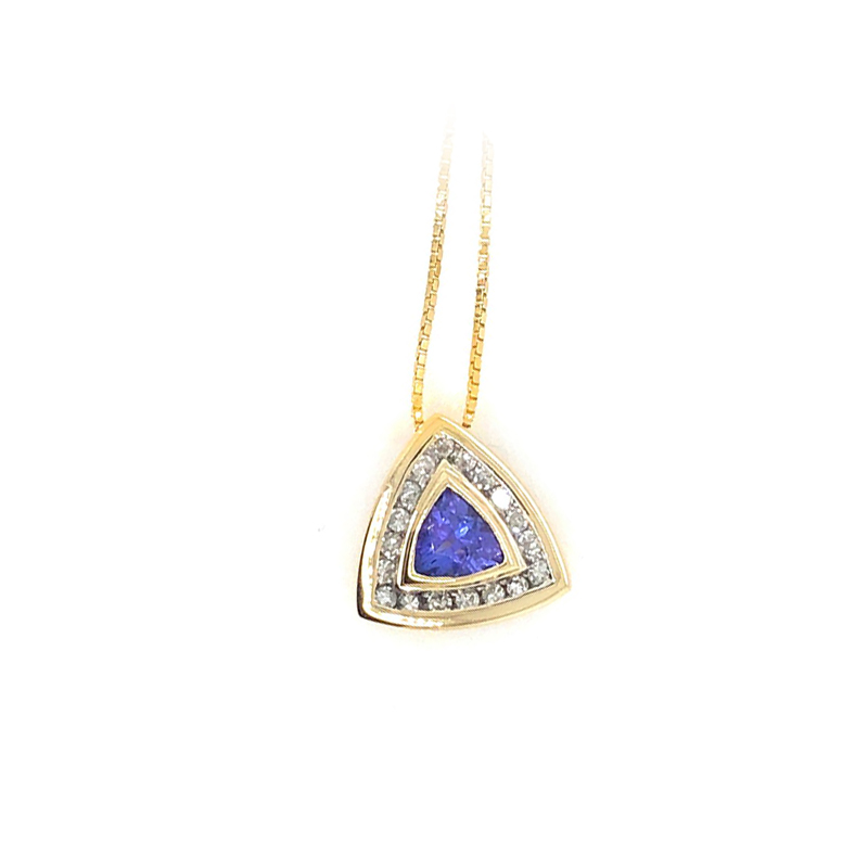 Vintage 14 Karat Yellow Gold Tanzanite and Diamond Triangle Pendant Necklace with Chain