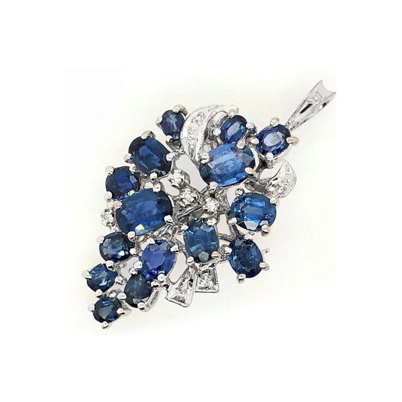 Vintage 18 Karat White Gold Blue Sapphire and Diamond Cluster Pendant