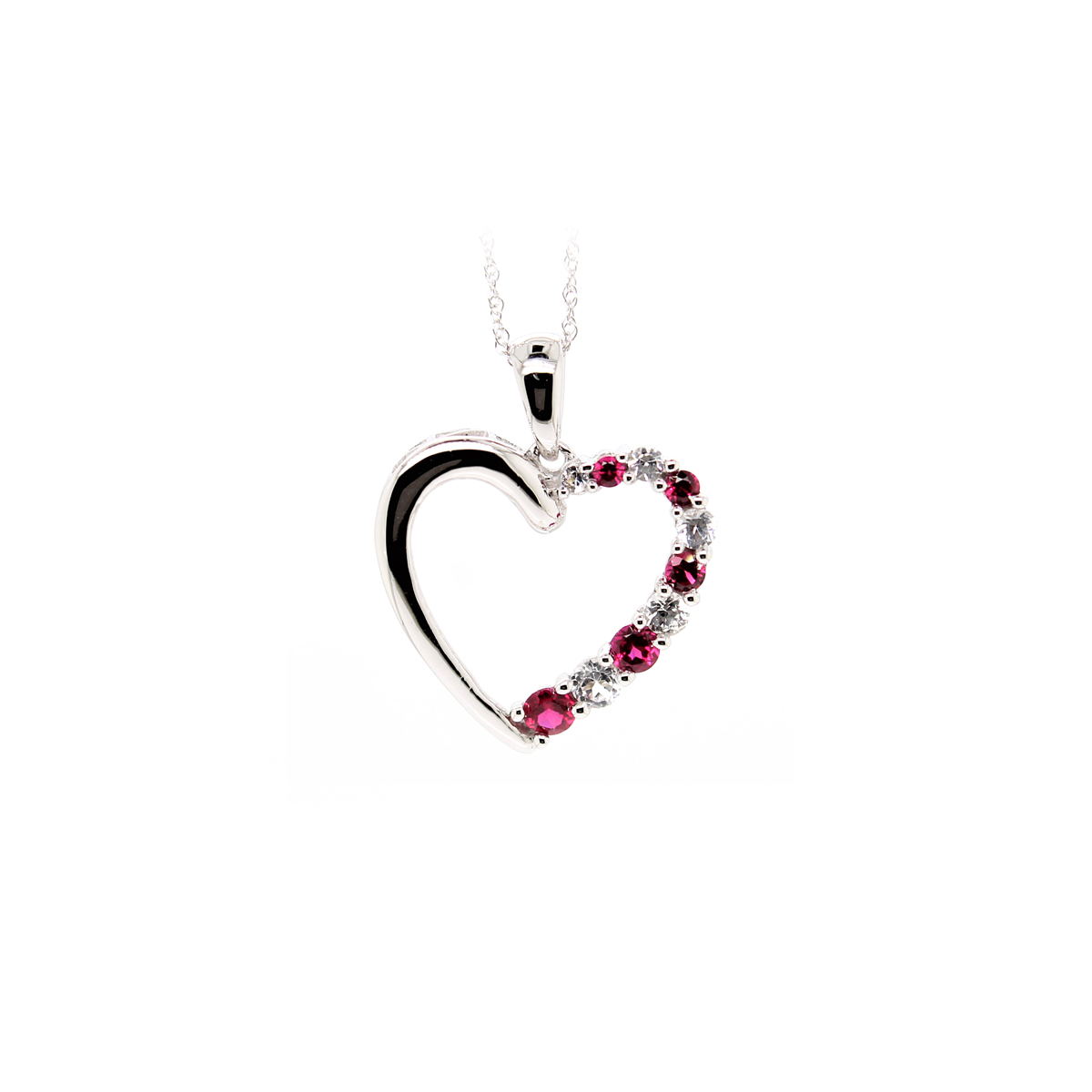 Vintage 14 Karat White Gold Ruby and Diamond Cutout Pendant Necklace