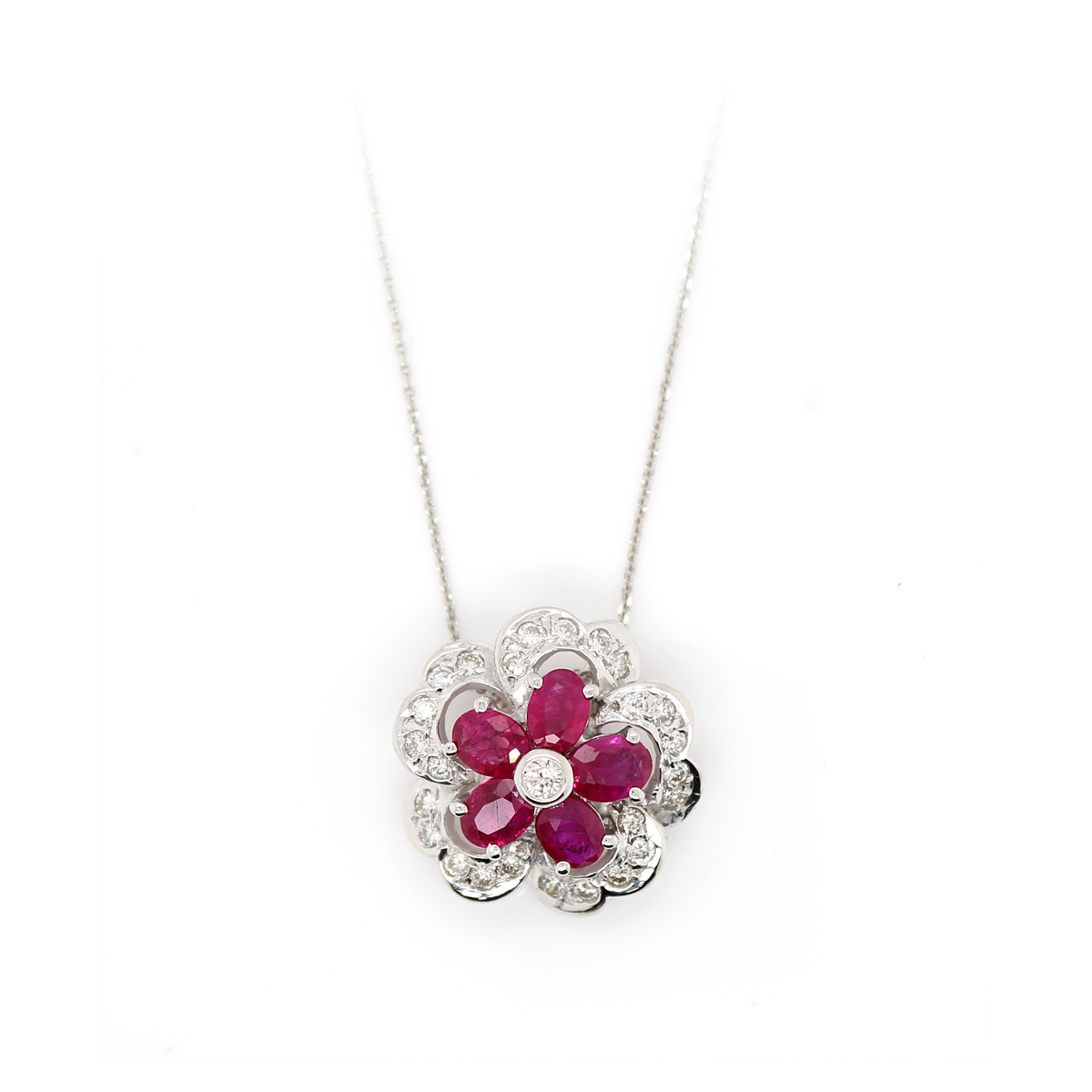 Vintage 18 Karat White Gold Ruby and Diamond Flower Pendant Necklace