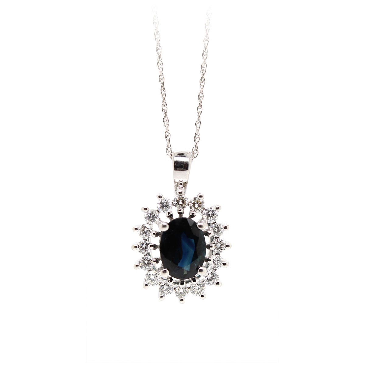 Vintage 14 Karat White Gold Blue Sapphire and Diamond Pendant Necklace