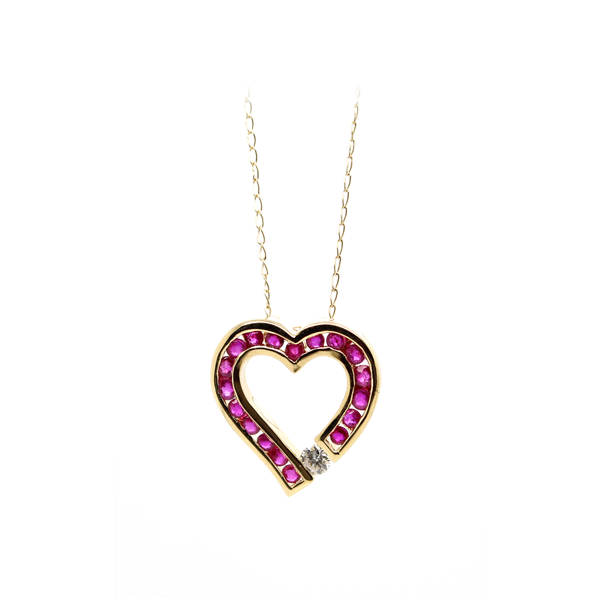 Vintage 14 Karat Yellow Gold Ruby and Diamond Heart Pendant Necklace