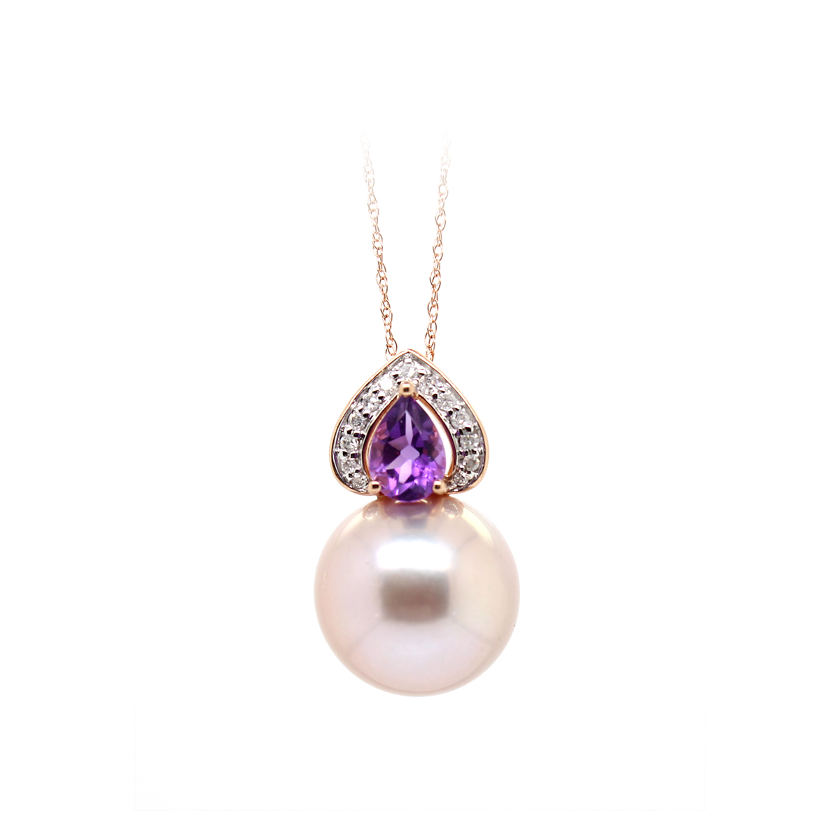Vintage 14 Karat Rose Gold Amethyst, Diamond, and Lavender South Sea Pearl Pendant Necklace