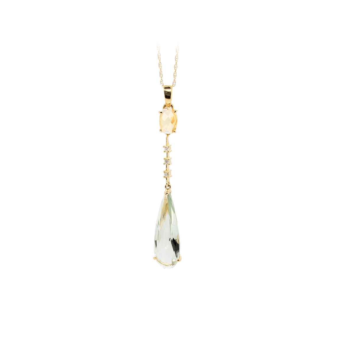 Vintage 14 Karat Yellow Gold Citrine, Diamond and Green Quartz Pendant Necklace