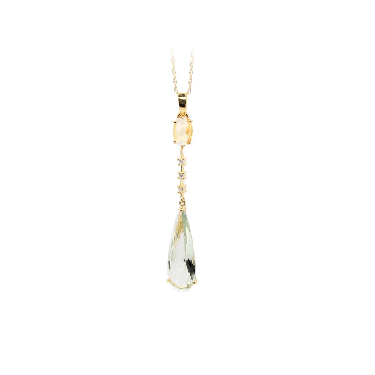 Vintage 14 Karat Yellow Gold Citrine, Diamond and Green Quartz Pendant Necklace