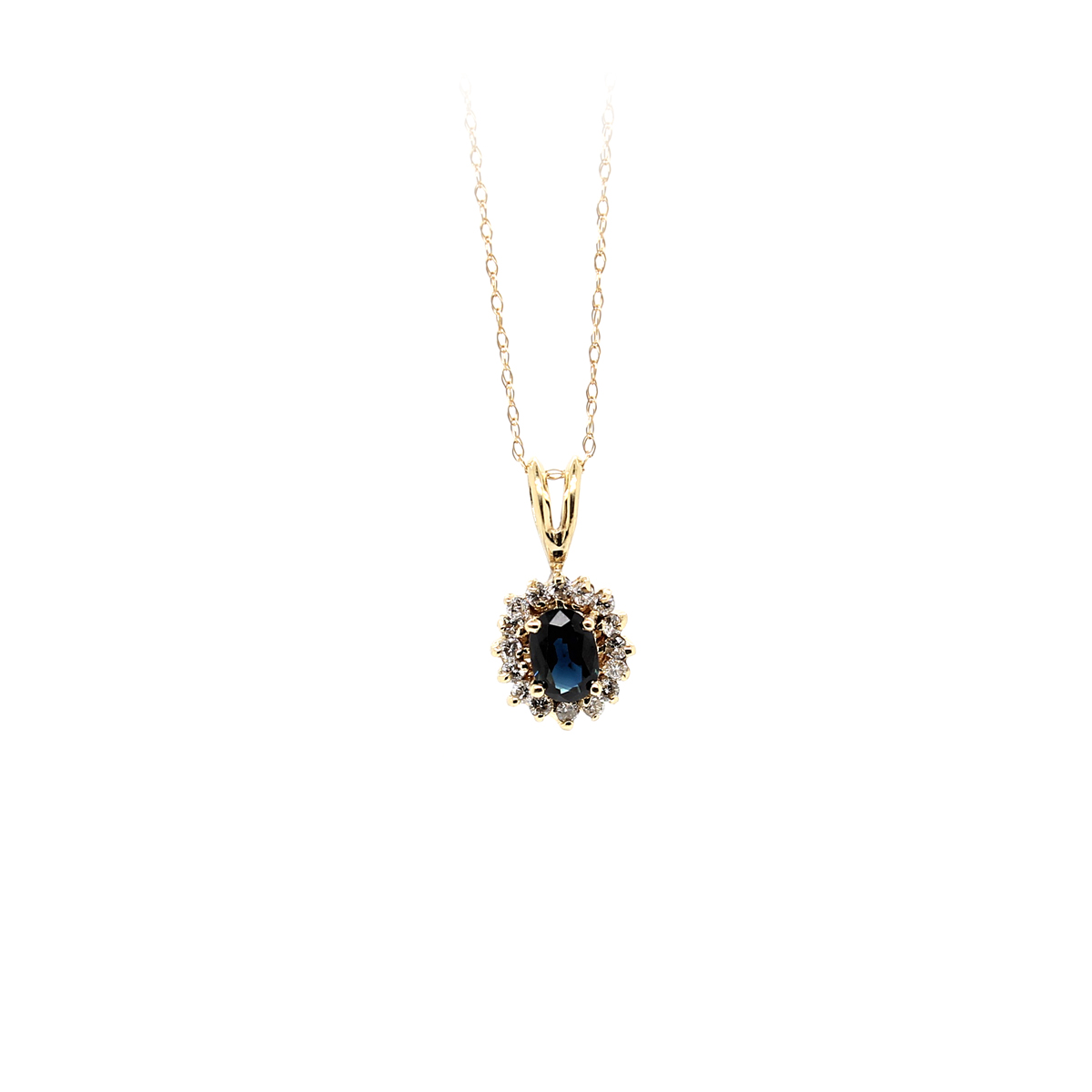 Vintage 14 Karat Yellow Gold Oval Blue Sapphire and Diamond Pendant Necklace